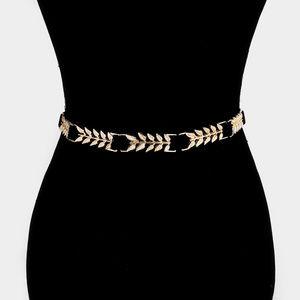 Embellished Leaf Metal Stretch Belt